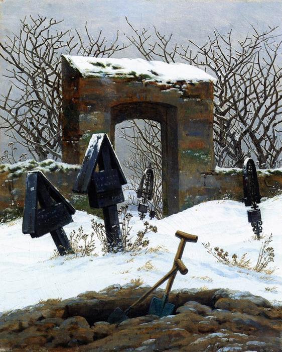 """""""Sin belleza es imposible vivir, porque entonces al mundo no le quedaría nada que hacer. ¡Ahí está el secreto! ¡Ahí está toda la historia!"""" (Imagen: cementerio nevado de Friedrich)."""