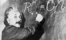 Albert Einstein at the blackboard