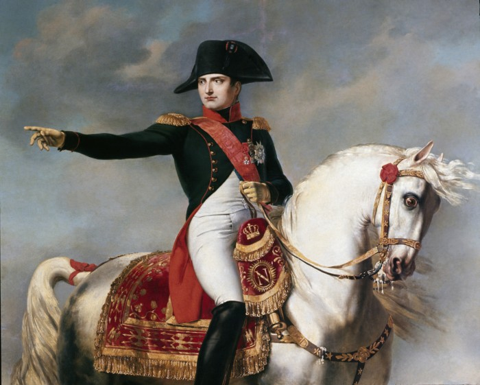 Napoleon Bonaparte. Portarit of Napoleon Bonaparte 1769-1821 at the battle. Detail of a painting by Joseph Chabord 1786-1848. Museo Napoleonico, Rome Italy