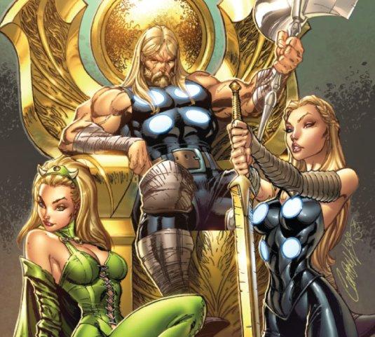 Espectacular dibujo de un omnipotente Thor sentado en el trono asgardiano