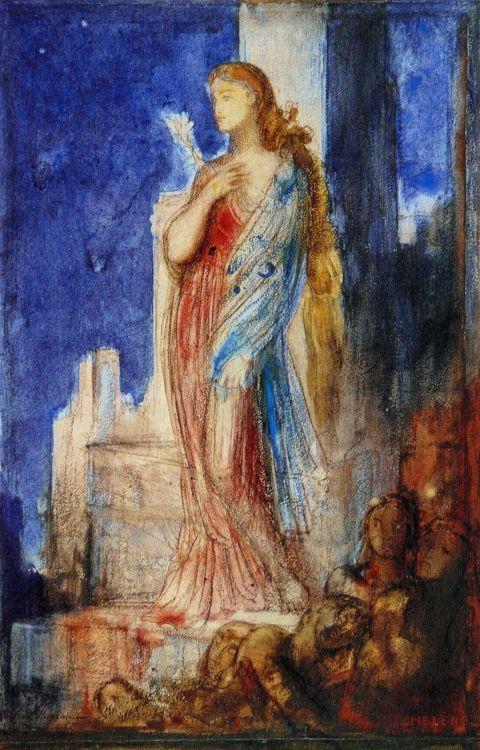 Helena en las murallas de Troya Moureau.jpg
