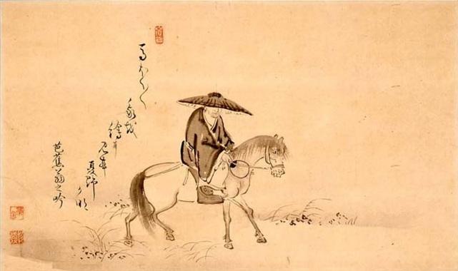 Matsuo-Basho-montando-un-caballo-dibujo-de-Sugiyama-Sanpu-.jpg