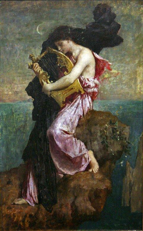 Jules-Elie Delaunay (1828-1891), Safo abrazando su lira.jpg